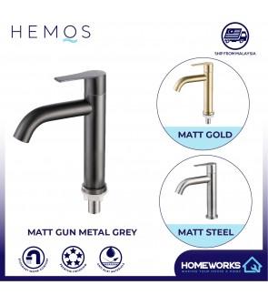 HEMOS BATHROOM FAUCET STAINLESS STEEL SUS 304 PILLAR BASIN TAP HM-3213(GUNMETAL BLACK GRAY, GOLD, SILVER)