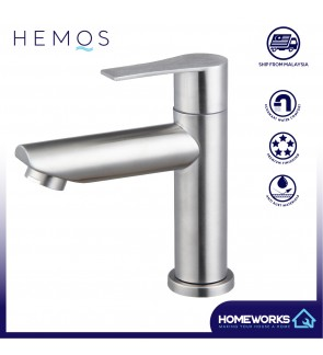 HEMOS BATHROOM FAUCET STAINLESS STEEL SUS 304 PILLAR BASIN TAP HM-3233-MS