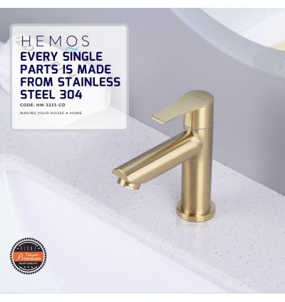 HEMOS BATHROOM FAUCET STAINLESS STEEL SUS 304 SILVER GOLD PILLAR BASIN TAP HM-3233