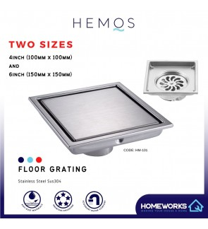 HEMOS BATHROOM FITTINGS STAINLESS STEEL SUS 304 6 INCHES TILED INSERT FLOOR GRATING HMBF-101 4 INCHES HMBF113