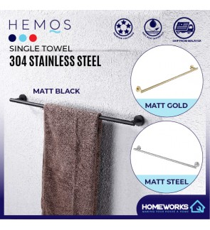 HEMOS 800MM BATHROOM FAUCET STAINLESS STEEL SUS 304 SINGLE TOWEL BAR HM-83811 (MATT BLACK, GOLD, SILVER)