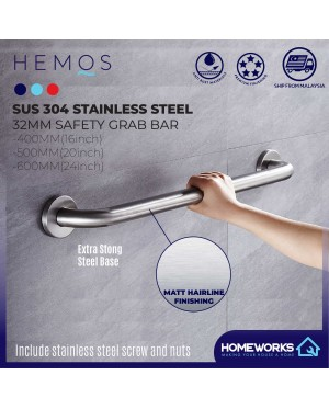 HEMOS BATHROOM SUS304 STAINLESS STEEL SAFETY TOILET GRIP HANDBAR HANDLE HANDRAIL GRAB BAR PEMEGANG TANDAS
