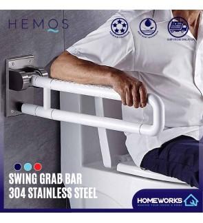 HEMOS BATHROOM SUS304 STAINLESS STEEL SAFETY TOILET HANDICAPED HANDBAR HANDLE SWING GRAB BAR PEMEGANG TANDAS HM-88016