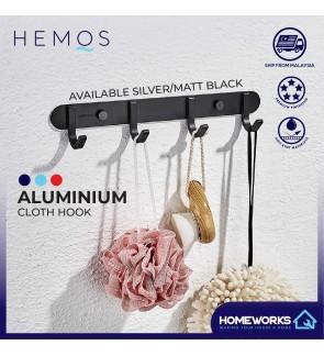 HEMOS ALUMINUM BATHROOM ACCESSORIES FITTINGS CLOTH HOOK HM-81004,81005,81006 (MATT BLACK,SILVER)