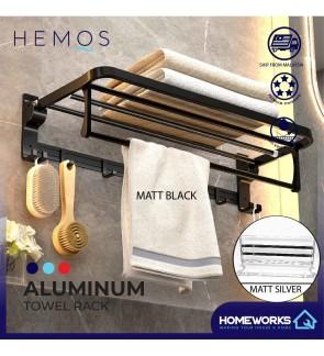 HEMOS ALUMINIUM  BATHROOM ACCESSORIES FITTINGS TOWEL RACK HM-81109 (MATT BLACK, SILVER)