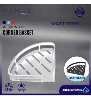 HEMOS BATHROOM FAUCET ALUMINUM CORNER BASKET HM-81103 (MATE BLACK,SILVER)