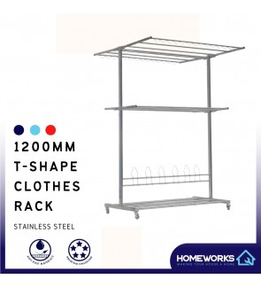 1200MM STAINLESS STEEL T-SHAPE FOLDABLE CLOTHES RACK GMH-2300