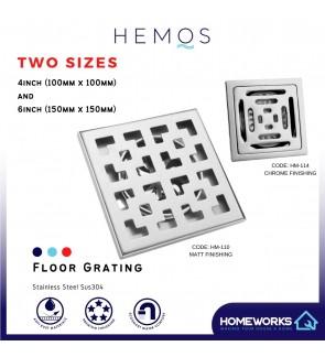 HEMOS BATHROOM FITTING SUS 304 STAINLESS STEEL 4 INCH HM-114 6 INCH INDOOR OUTDOOR FLOOR TRAP GRATING HM-110
