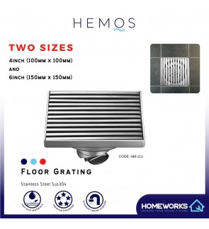 HEMOS BATHROOM FITTING SUS 304 STAINLESS STEEL BLACK 4 INCH HM-112 6 INCH INDOOR OUTDOOR FLOOR TRAP GRATING HM-111