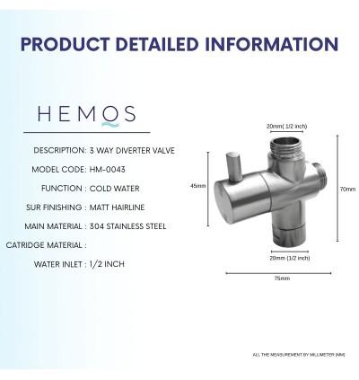 HEMOS BATHROOM FAUCET PARTS 3 WAY SHOWER HEAD WATER FLOW CONTROL DIVERTER VALVE (M+M+F) HM-0043