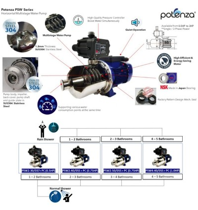 POTENZA 0.5/0.75/1HP ENERGY SAVING AUTOMATIC WATER BOOSTER PUMP BOOSTER AIR